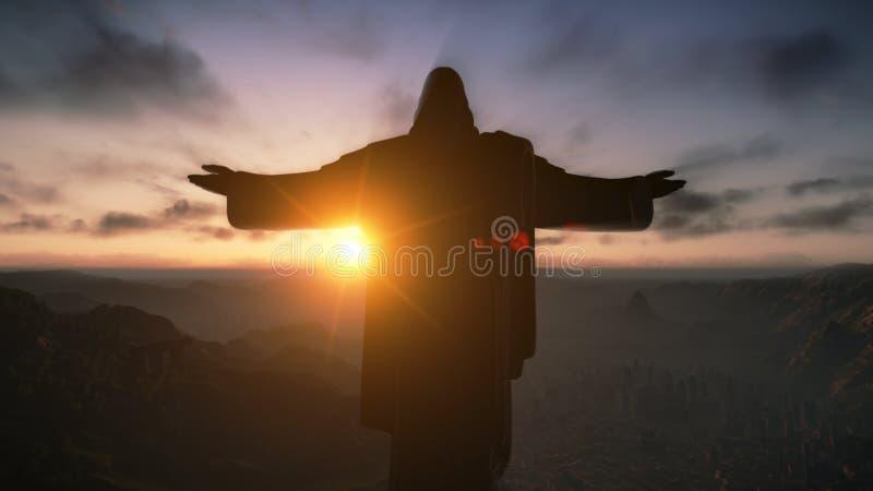 Cristo il Redemeer ad alba, Rio de Janeiro, Brasile immagine stock