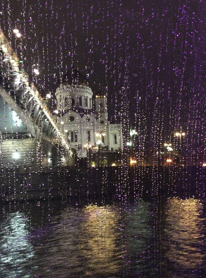 Cristo la catedral del salvador en tiempo lluvioso Moscú, Rusia fotos de archivo libres de regalías