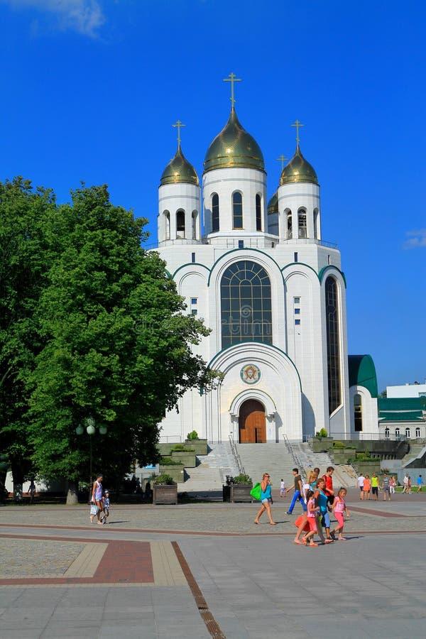 Cristo la catedral del salvador en Victory Square en Kaliningrado imagen de archivo libre de regalías