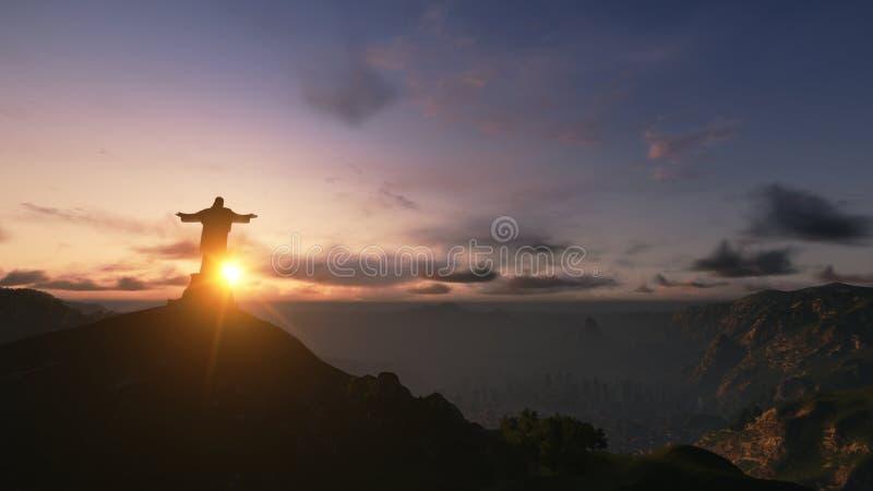 Cristo la puesta del sol de la rata de Redemee, Río de Janeiro, el Brasil, 3D rinde imágenes de archivo libres de regalías