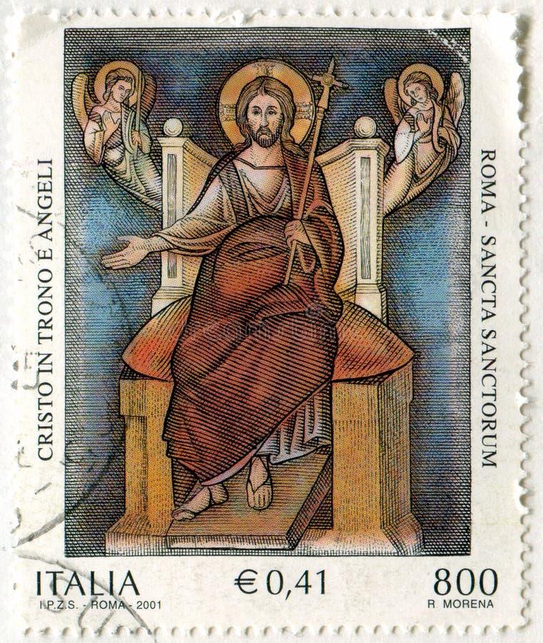 Cristo messo sul trono ed angeli fotografia stock