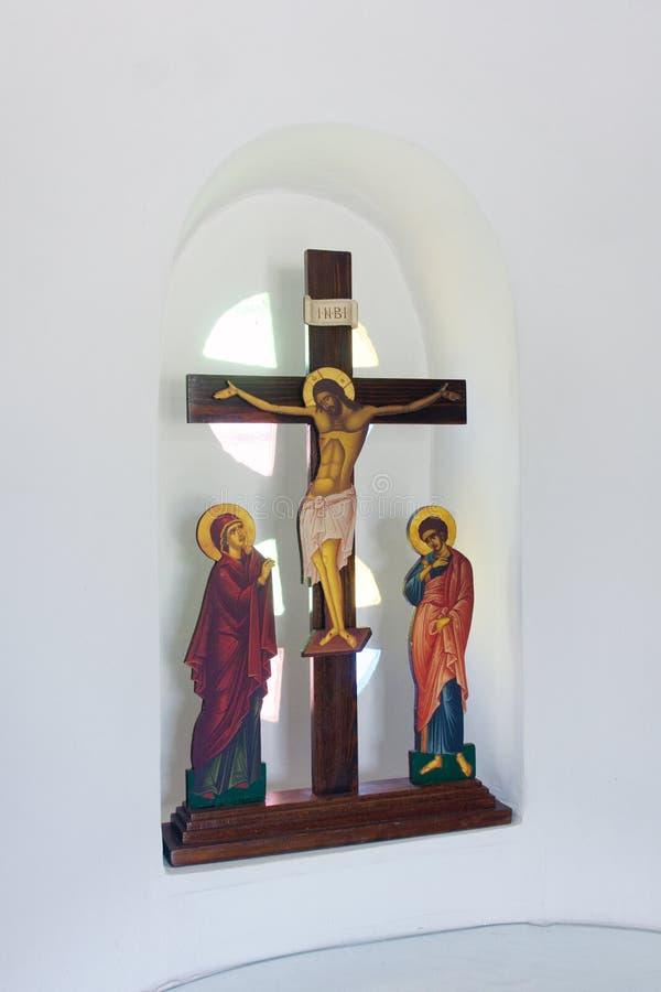 Cristo na cruz, ícones ortodoxos gregos fotografia de stock royalty free