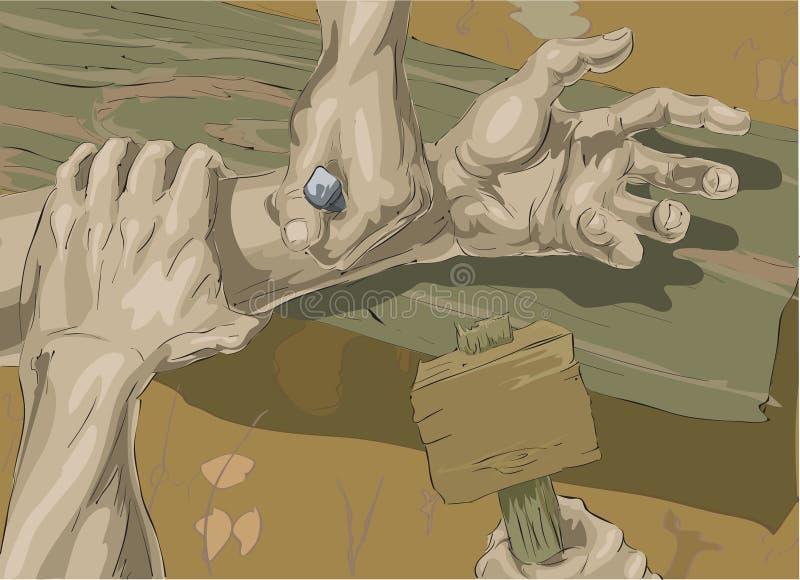 Cristo que es crucificado stock de ilustración