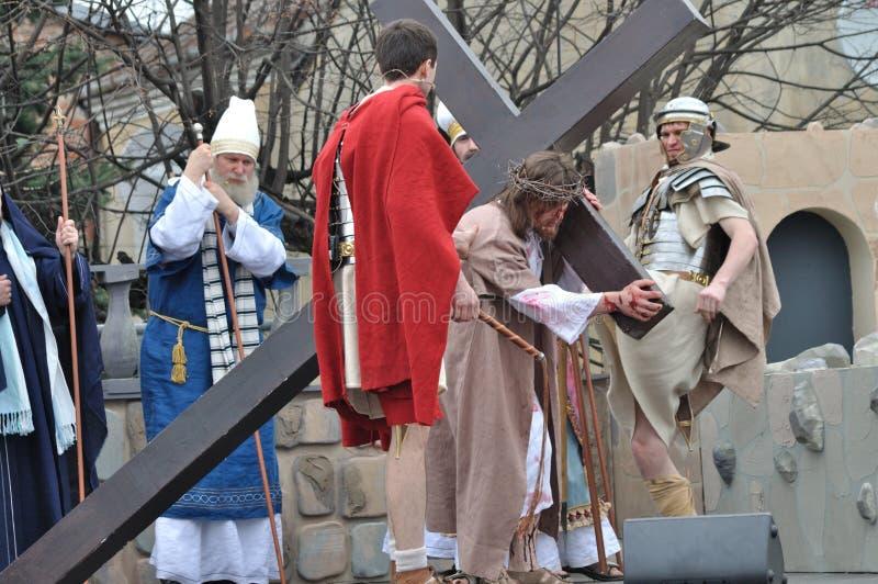 Cristo que leva a cruz foto de stock royalty free