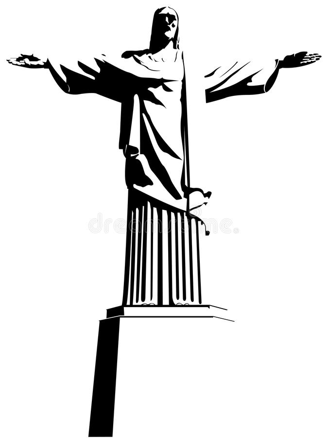 Download Cristo Redentor (Christ The Redeemer) In Rio De Janeiro / Brazil. Drawing In Black And White. Stock Vector - Illustration of landmark, famous: 72197894