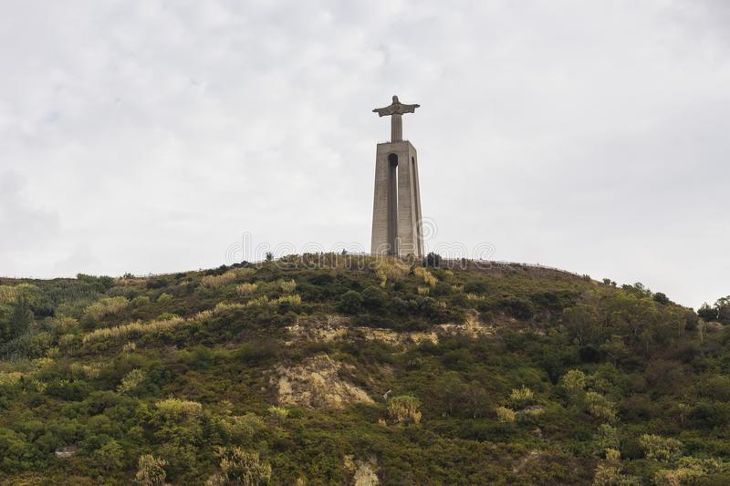 The Cristo Rei in Lisbon, Portugal. Statue of the Cristo Rei on the southern bank of the River Tagus in Lisbon, Portugal stock images