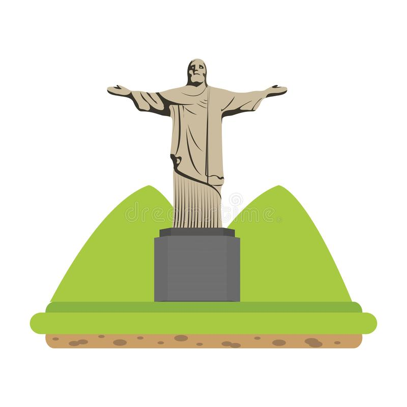 Cristo religion statue with mountains landscape. Vector illustration stock illustration
