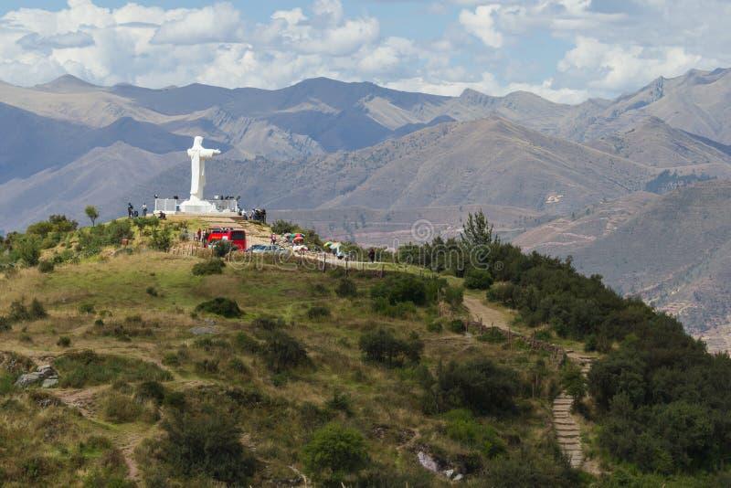 Cristo-rey in Cusco Peru stockfotos
