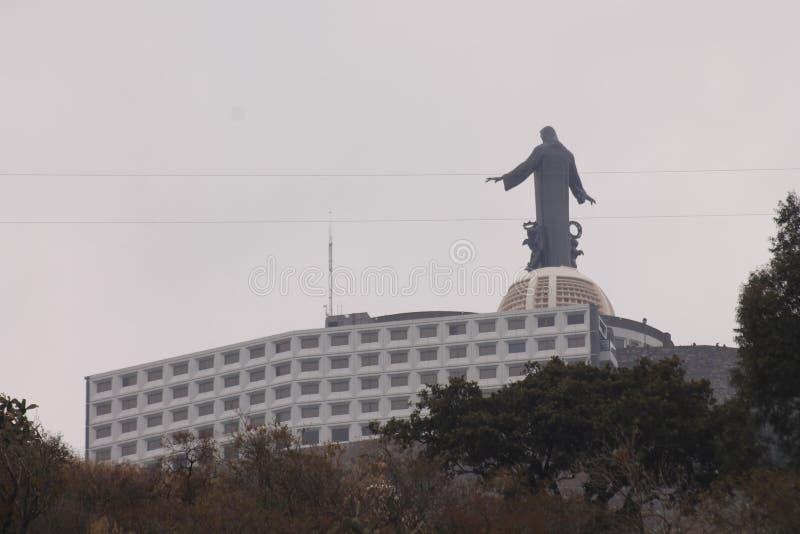 Cristo Rey met open wapens die van de rug worden gezien stock foto's