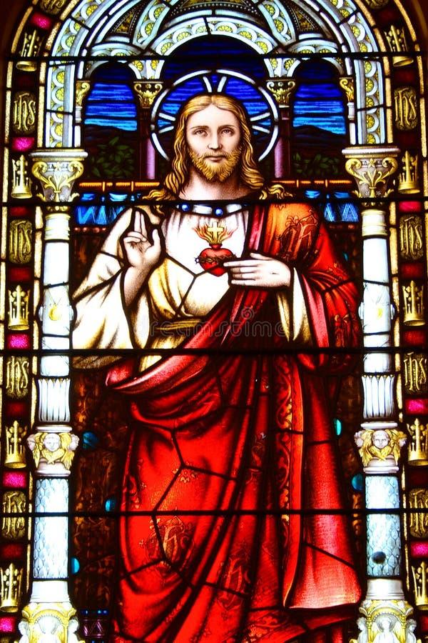 Cristo sobre el vidrio manchado imágenes de archivo libres de regalías