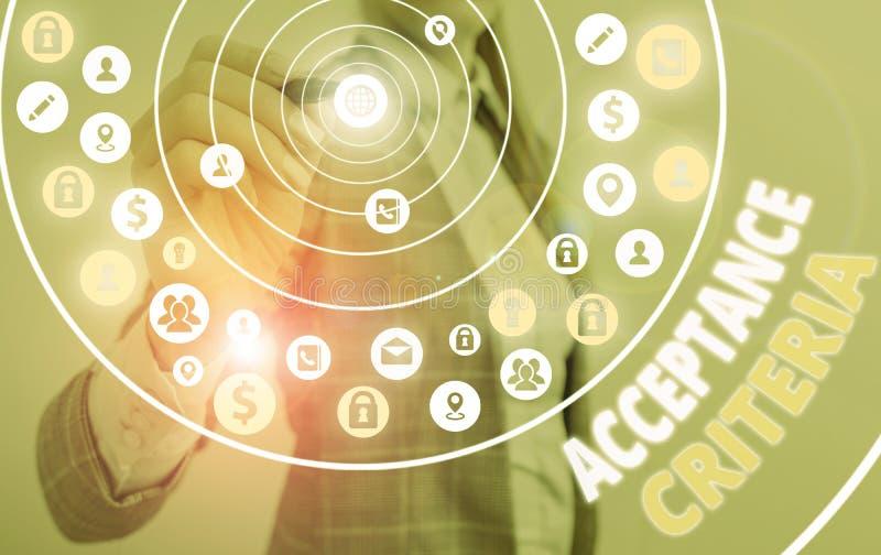 Critérios de Aceitação de Texto de Escrita do Word Conceito de negócios para indicadores especificados na avaliação da capacidade imagens de stock royalty free