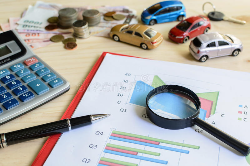 Criteria in comparing and choosing a car. With graph stock images