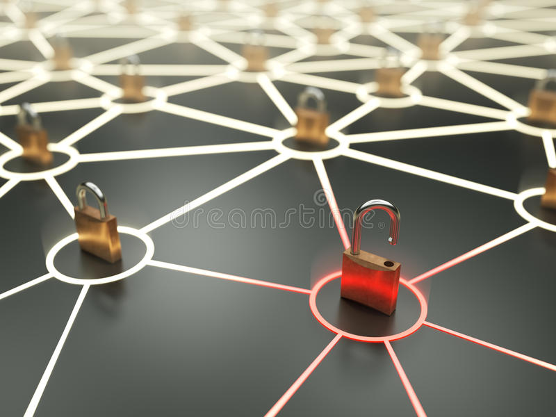 Critical network vulnerability concept. Insecure nod in abstract network stock illustration