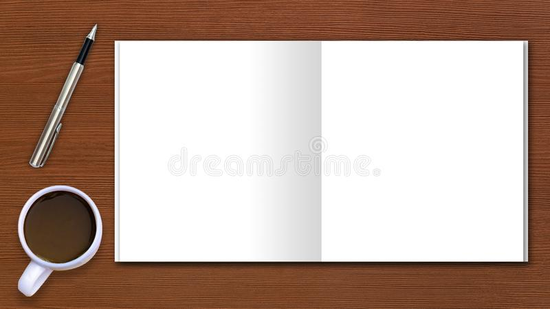 Criticar severamente o espaço da configuração no espaço da área da mesa incorporam o texto copos de café do modelo, papel de nota fotos de stock