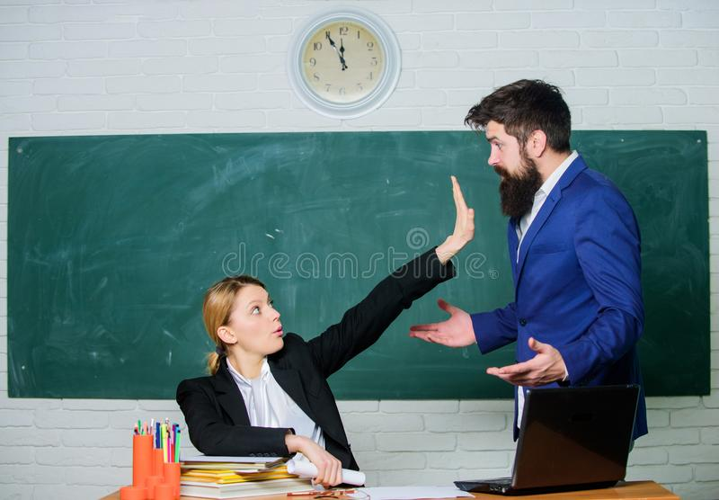 Criticism and objection concept. Teacher wants man to shut up. Please shut up. Tired of complaints. Indifferent about. Criticism and objection concept. Teacher stock photography