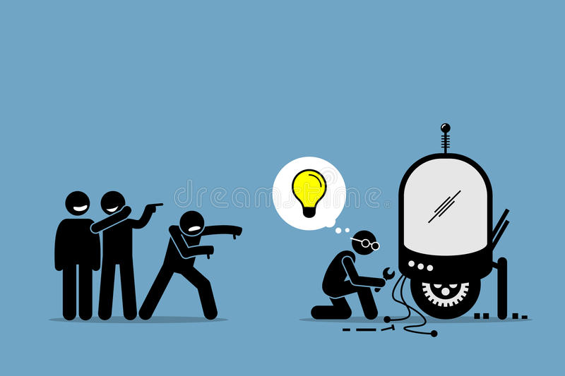 Critics Mocking and Making Fun of an Inventor from Creating and Inventing New Idea and Extraordinary Technology. Artwork illustrations depicts critique, hate stock illustration