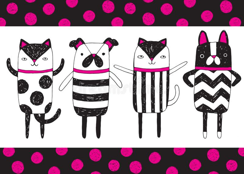 Quirky dog and cat critters. A set of four quirky cat and dog characters perfect for novelty stationery. Vector illustration stock illustration