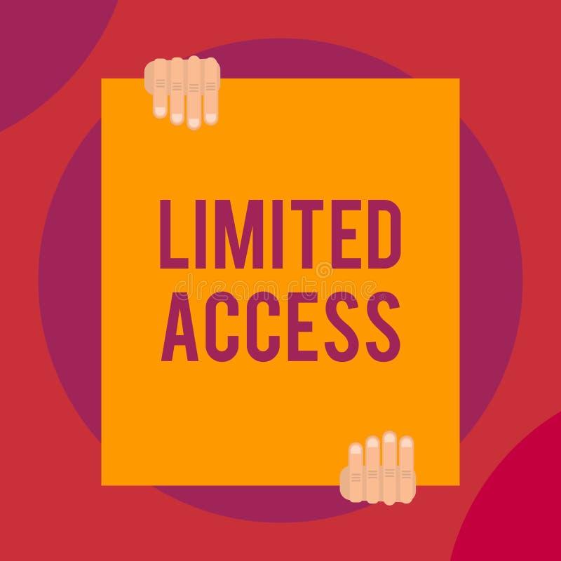 ?criture Access limit? par texte de Word Concept d'affaires pour avoir accès limité à un nombre tout à fait petit des points deux illustration libre de droits