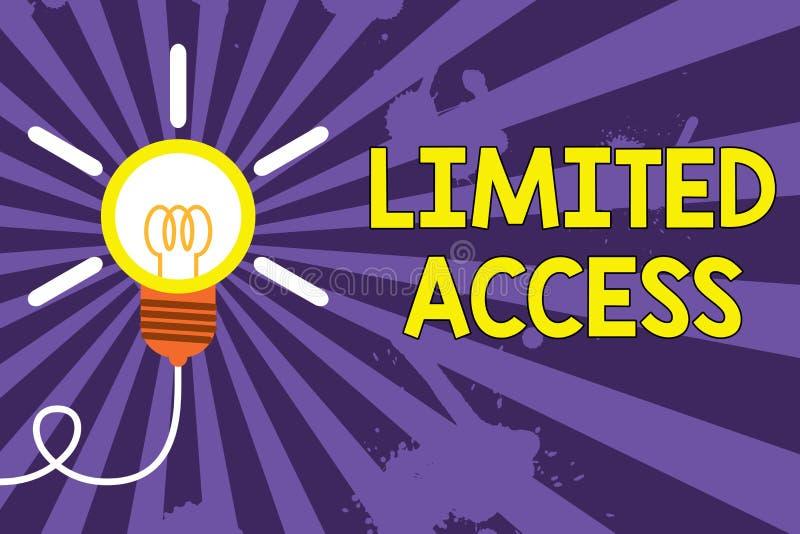 ?criture Access limit? par texte de Word Concept d'affaires pour avoir accès limité à un nombre tout à fait petit de points grand illustration de vecteur