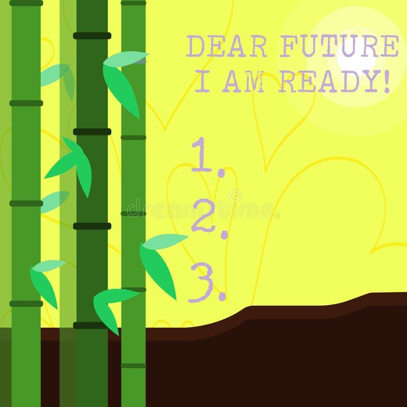 ?criture conceptuelle de main me montrant ? cher avenir suis pr?t ?tat appropri? des textes de photo d'affaires pour l'action ou  illustration libre de droits