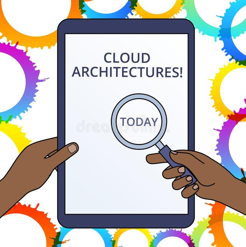?criture conceptuelle de main montrant des architectures de nuage Logiciels de bases de donn?es machin?s des textes de photo d'af illustration libre de droits