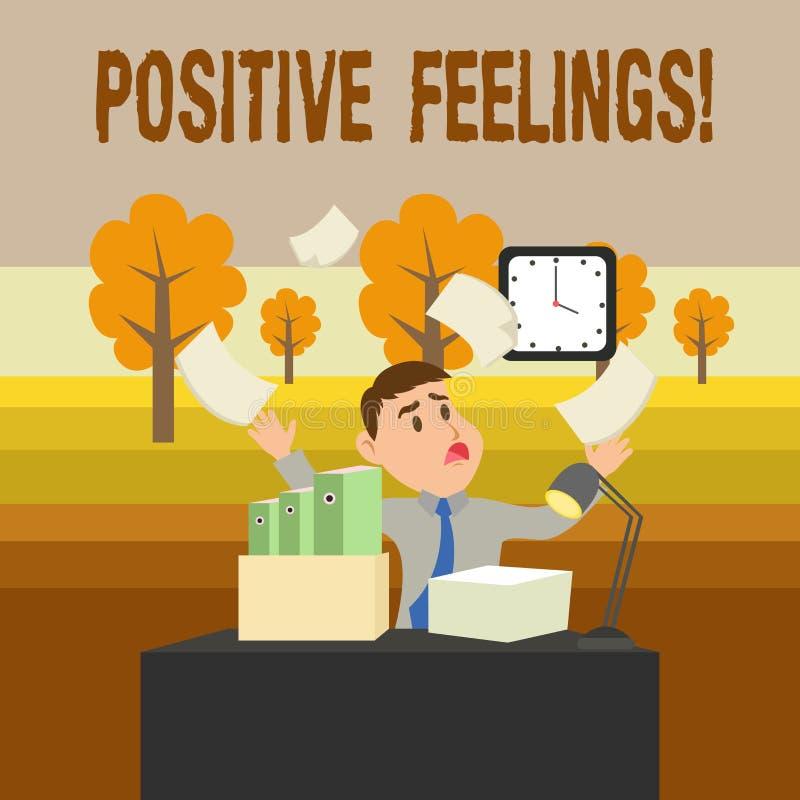 ?criture conceptuelle de main montrant des sentiments positifs Photo d'affaires pr?sentant tout sentiment d'o? il y a un manque illustration de vecteur