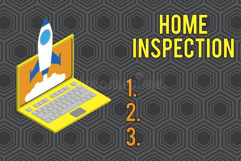 ?criture conceptuelle de main montrant l'inspection ? la maison Examen des textes de photo d'affaires de l'?tat d'une maison conn illustration stock