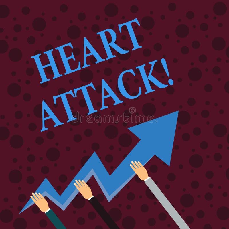?criture conceptuelle de main montrant la crise cardiaque Photo d'affaires pr?sentant l'occurrence soudaine de l'infarctus du myo illustration libre de droits