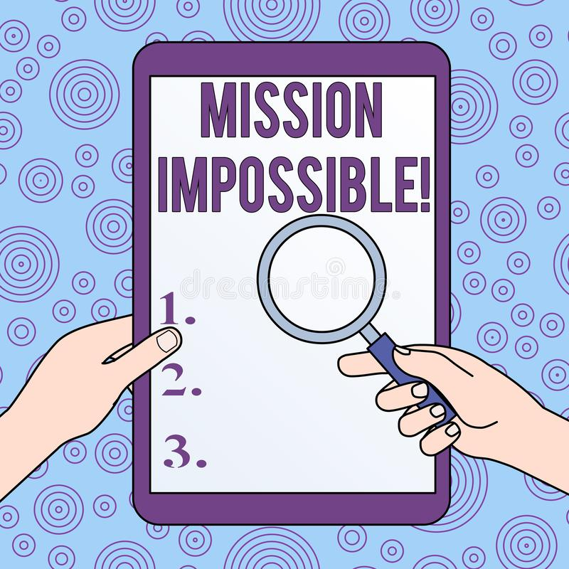 ?criture conceptuelle de main montrant la mission impossible La photo d'affaires présentant la tâche dangereuse difficile a isolé illustration libre de droits