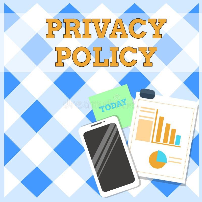 ?criture conceptuelle de main montrant la politique de confidentialit? Document texte de photo d'affaires qui explique comment de illustration libre de droits