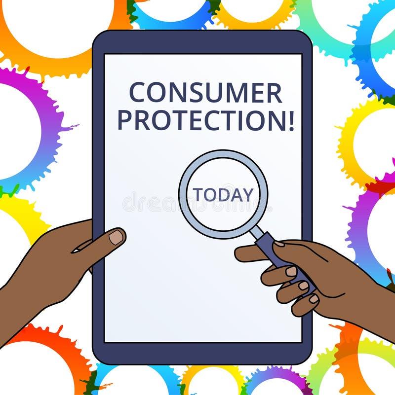 ?criture conceptuelle de main montrant la protection des consommateurs Lois de commerce ?quitable des textes de photo d'affaires  illustration libre de droits