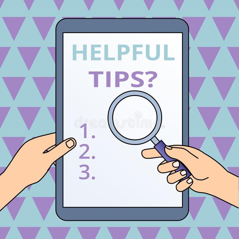 ?criture conceptuelle de main montrant la question utile d'astuces Photo d'affaires pr?sentant l'information ou des conseils secr illustration de vecteur
