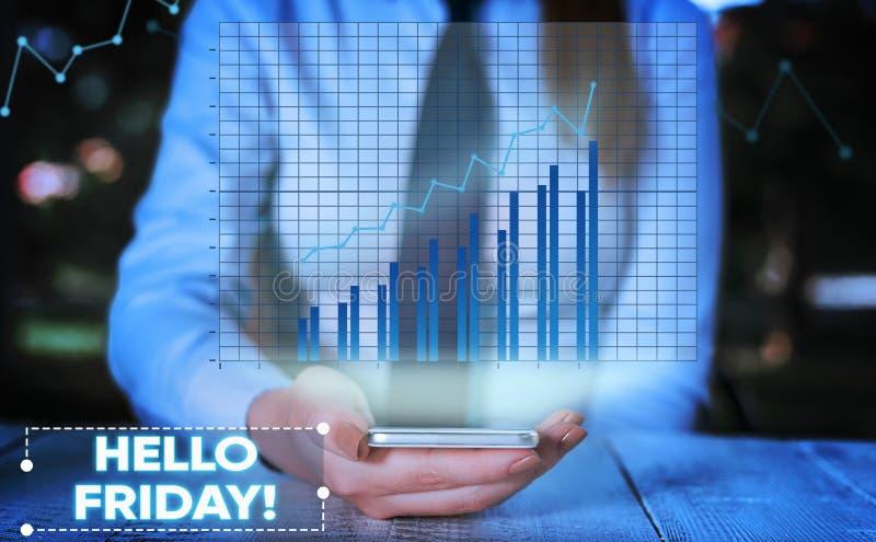 ?criture conceptuelle de main montrant le bonjour vendredi La photo d'affaires vous pr?sentant indiquent ceci pour souhaiter et e image libre de droits