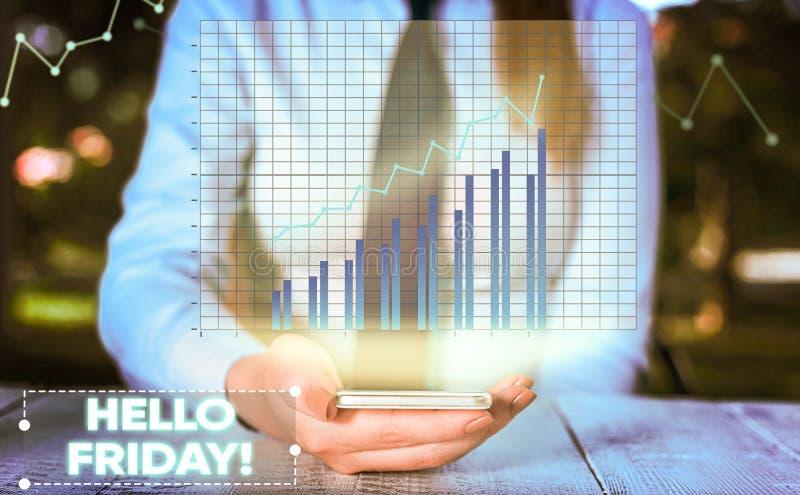 ?criture conceptuelle de main montrant le bonjour vendredi La photo d'affaires vous pr?sentant indiquent ceci pour souhaiter et e images stock