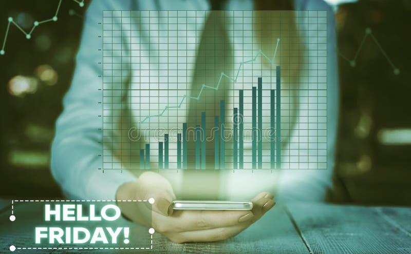 ?criture conceptuelle de main montrant le bonjour vendredi La photo d'affaires vous pr?sentant indiquent ceci pour souhaiter et e photo stock
