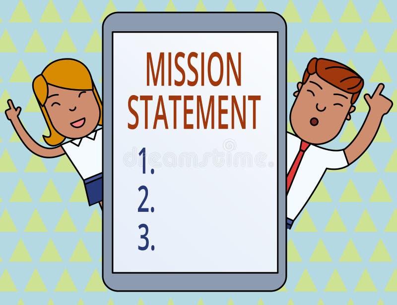 ?criture conceptuelle de main montrant le rapport de mission Photo d'affaires pr?sentant le r?sum? formel des objectifs et des va illustration de vecteur