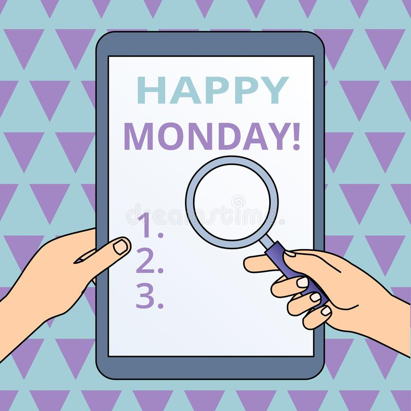 ?criture conceptuelle de main montrant lundi heureux E illustration libre de droits