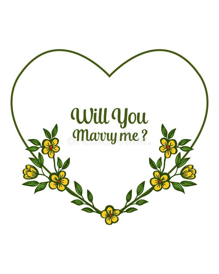 ?criture d'illustration de vecteur vous m'?pouserez avec fleuri des cadres jaunes de guirlande illustration de vecteur