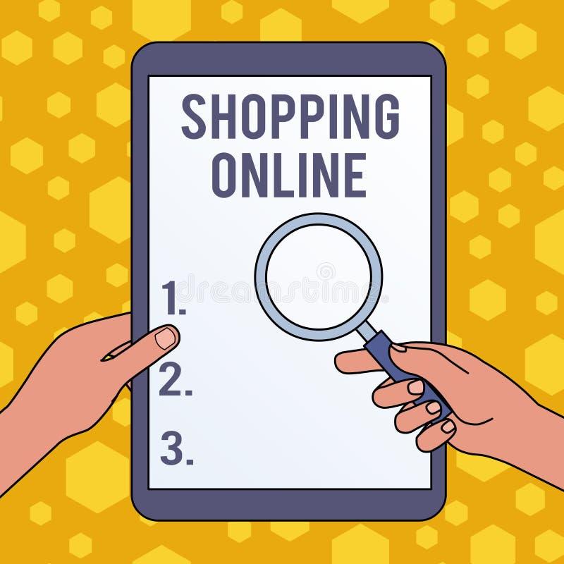 ?criture des textes d'?criture faisant des emplettes en ligne Concept signifiant des achats que vous voulez par le site Web d'Int illustration stock