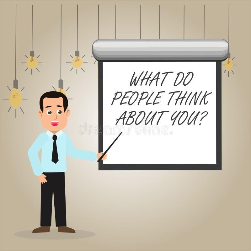 ?crivant l'apparence de note ce qui les gens pensent ? Youquestion La photo d'affaires présentant ceci est comment d'autres vous  illustration stock