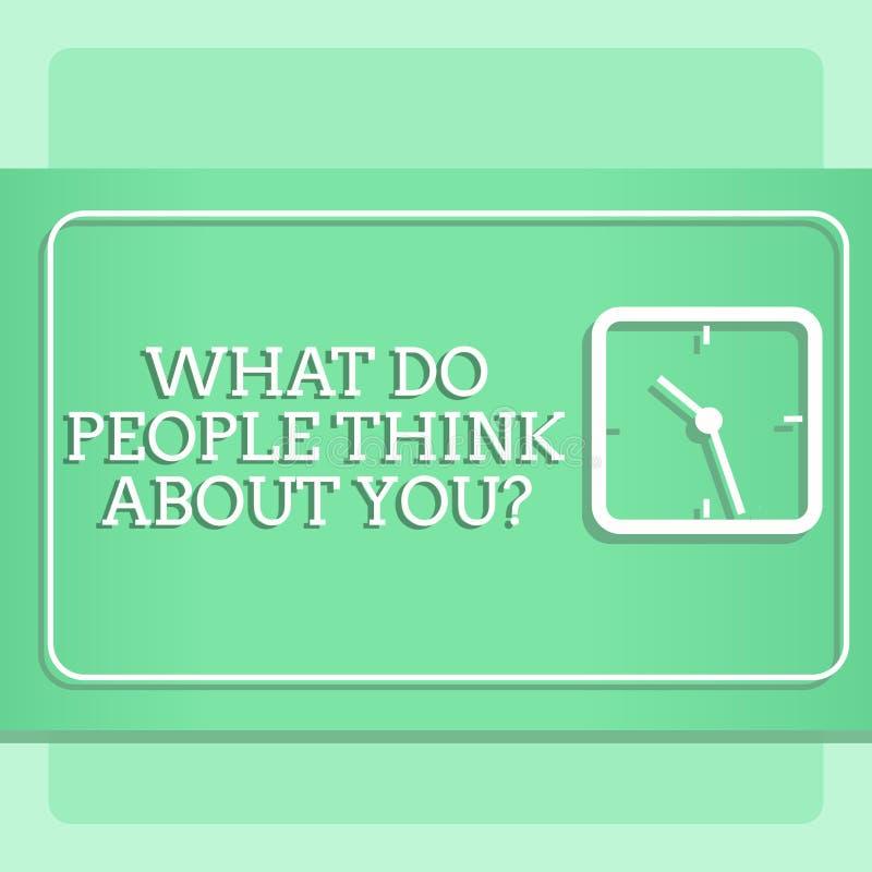 ?crivant l'apparence de note ce qui les gens pensent ? Youquestion La photo d'affaires pr?sentant ceci est comment d'autres vous  illustration stock