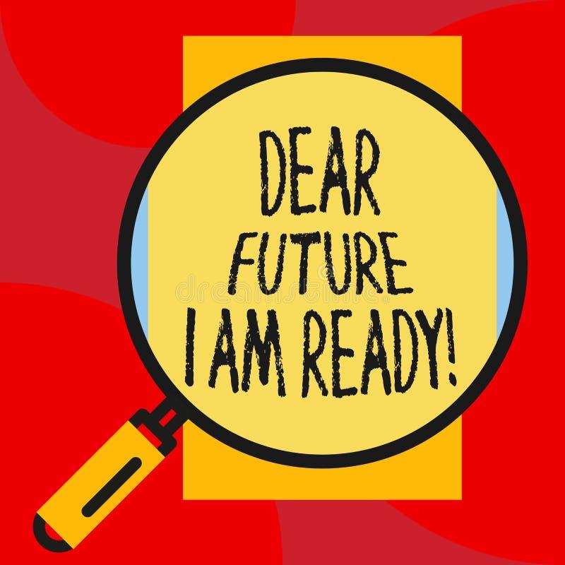 ?crivant la note me montrant ? cher avenir suis pr?t Situation de pr?sentation d'action d'?tat de photo d'affaires ?tant enti?rem illustration stock