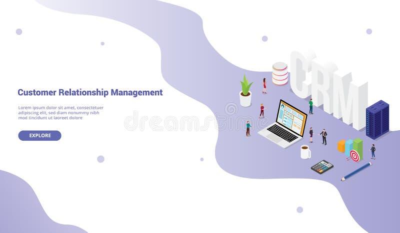 Crm顾客与队人的关联管理人概念和财政admin数据为网站模板横幅或着陆 库存例证