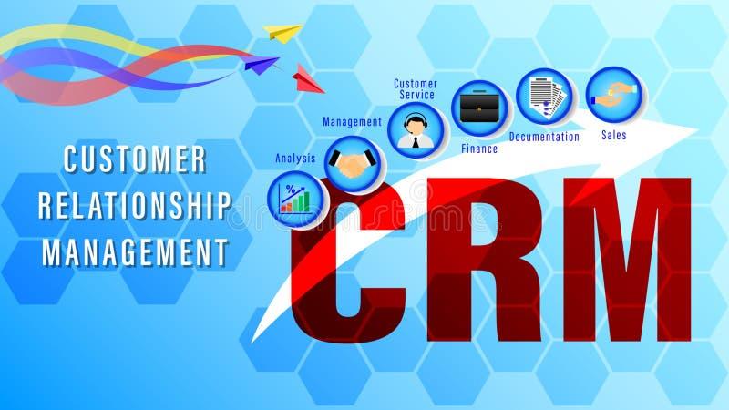 CRM Διαχείριση σχέσης πελατών διανυσματική απεικόνιση