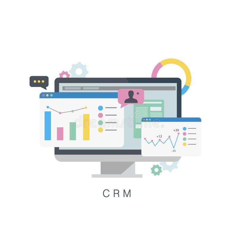 CRM Διαχείριση σχέσης πελατών Επίπεδη διανυσματική απεικόνιση διανυσματική απεικόνιση