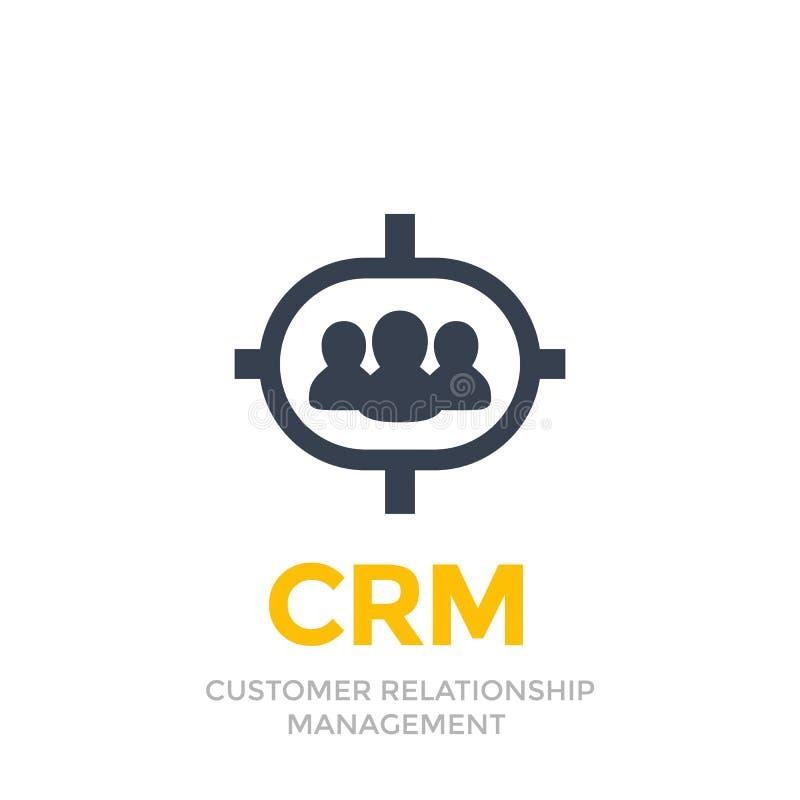 CRM, διοικητικό εικονίδιο σχέσης πελατών διανυσματική απεικόνιση