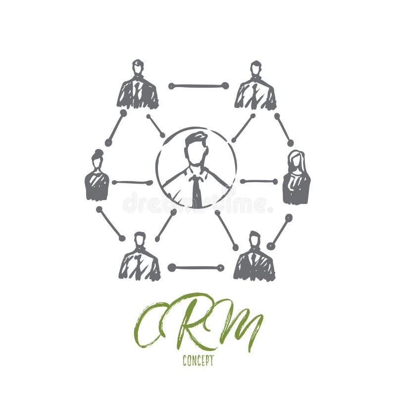 CRM, πελάτης, επιχείρηση, ανάλυση, έννοια μάρκετινγκ Συρμένο χέρι απομονωμένο διάνυσμα ελεύθερη απεικόνιση δικαιώματος
