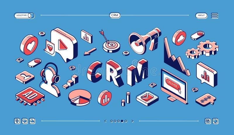 CRM, знамя сети управления отношения клиента иллюстрация штока