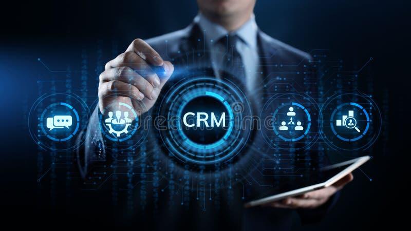 CRM - Abnehmer-Verhältnis-Management Unternehmenskommunikations- und -planungs-Software-Konzept lizenzfreie abbildung