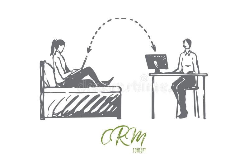 CRM affär, system, kund, online-begrepp Hand dragen isolerad vektor stock illustrationer
